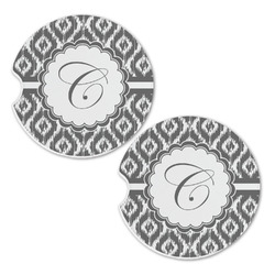 Ikat Sandstone Car Coasters - Set of 2 (Personalized)