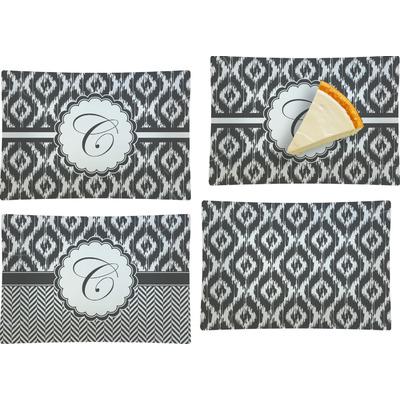 Ikat Set of 4 Glass Rectangular Appetizer / Dessert Plate (Personalized)