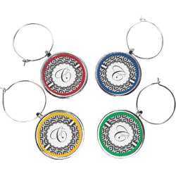 Ikat Wine Charms (Set of 4) (Personalized)
