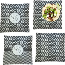 """Ikat Set of 4 Glass Square Lunch / Dinner Plate 9.5"""" (Personalized)"""