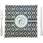 "Ikat Glass Square Lunch / Dinner Plate 9.5"" - Single or Set of 4 (Personalized)"