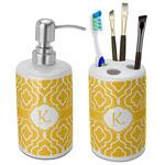 Trellis Ceramic Bathroom Accessories Set (Personalized)