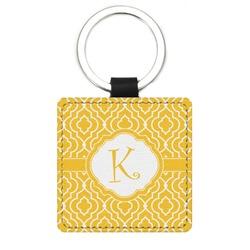 Trellis Genuine Leather Rectangular Keychain (Personalized)