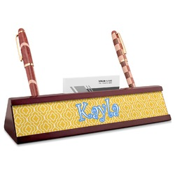 Trellis Red Mahogany Nameplate with Business Card Holder (Personalized)