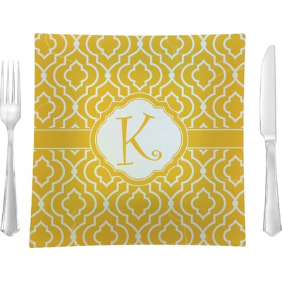 """Trellis 9.5"""" Glass Square Lunch / Dinner Plate- Single or Set of 4 (Personalized)"""