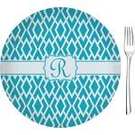 "Geometric Diamond Glass Appetizer / Dessert Plates 8"" - Single or Set (Personalized)"