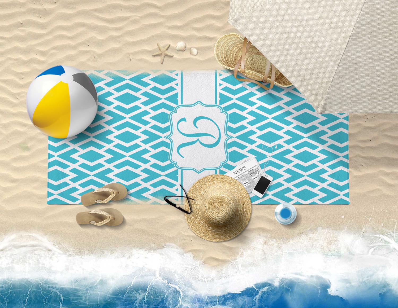 Geometric Diamond Beach Towel Personalized Youcustomizeit