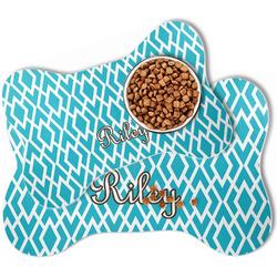 Geometric Diamond Bone Shaped Dog Food Mat (Personalized)