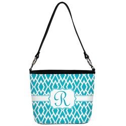Geometric Diamond Bucket Bag w/ Genuine Leather Trim (Personalized)