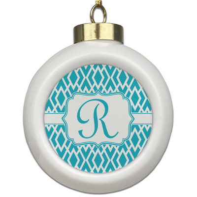 Geometric Diamond Ceramic Ball Ornament (Personalized)