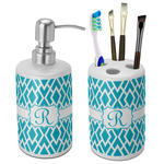 Geometric Diamond Bathroom Accessories Set (Ceramic) (Personalized)