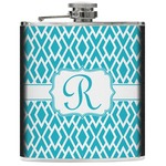 Geometric Diamond Genuine Leather Flask (Personalized)
