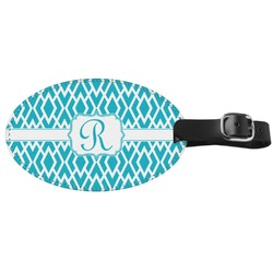 Geometric Diamond Genuine Leather Oval Luggage Tag (Personalized)