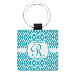 Geometric Diamond Genuine Leather Rectangular Keychain (Personalized)