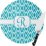 Geometric Diamond Round Glass Cutting Board (Personalized)