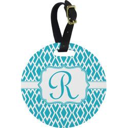 Geometric Diamond Round Luggage Tag (Personalized)