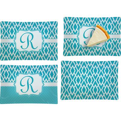 Geometric Diamond Set of 4 Glass Rectangular Appetizer / Dessert Plate (Personalized)