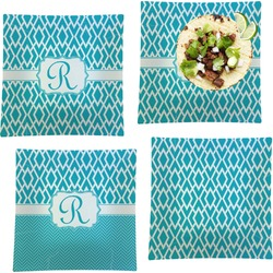 """Geometric Diamond Set of 4 Glass Square Lunch / Dinner Plate 9.5"""" (Personalized)"""