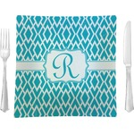 """Geometric Diamond Glass Square Lunch / Dinner Plate 9.5"""" - Single or Set of 4 (Personalized)"""
