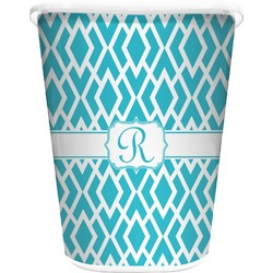 Geometric Diamond Waste Basket - Single Sided (White) (Personalized)