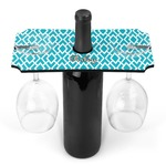 Geometric Diamond Wine Bottle & Glass Holder (Personalized)