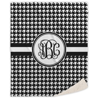 Houndstooth Sherpa Throw Blanket (Personalized)