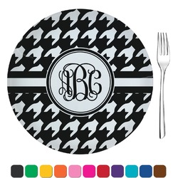 "Houndstooth Glass Appetizer / Dessert Plates 8"" - Single or Set (Personalized)"