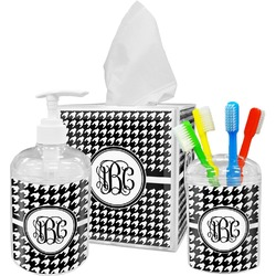 Houndstooth Acrylic Bathroom Accessories Set w/ Monogram