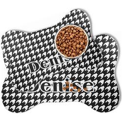 Houndstooth Bone Shaped Dog Food Mat (Personalized)