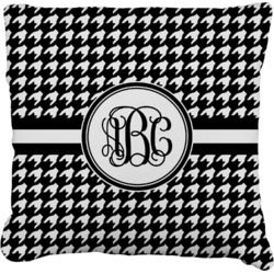 """Houndstooth Faux-Linen Throw Pillow 16"""" (Personalized)"""