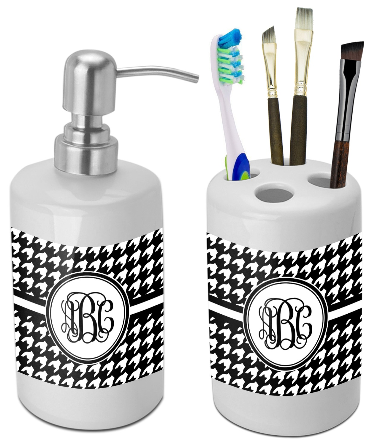 Houndstooth Bathroom Accessories Set (Ceramic) (Personalized ...