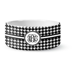 Houndstooth Ceramic Pet Bowl (Personalized)