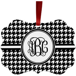 Houndstooth Metal Frame Ornament - Double Sided w/ Monogram