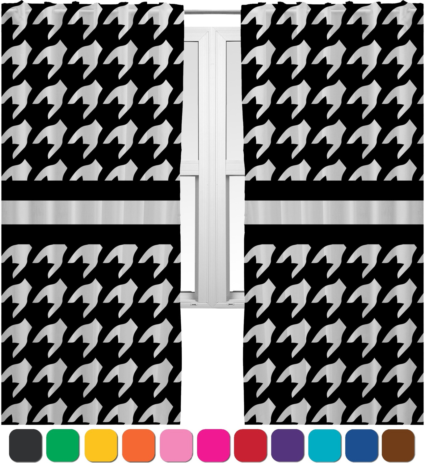 Houndstooth Curtains 2 Panels Per Set Personalized