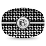 Houndstooth Plastic Platter - Microwave & Oven Safe Composite Polymer (Personalized)
