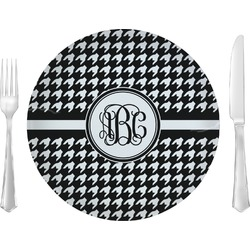 "Houndstooth Glass Lunch / Dinner Plates 10"" - Single or Set (Personalized)"