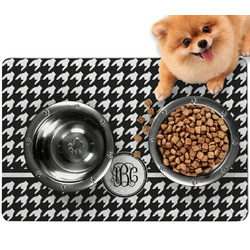 Houndstooth Dog Food Mat - Small w/ Monogram