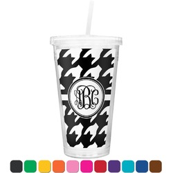 Houndstooth Double Wall Tumbler with Straw (Personalized)