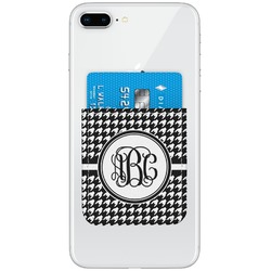 Houndstooth Genuine Leather Adhesive Phone Wallet (Personalized)