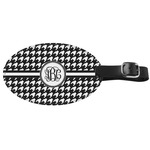 Houndstooth Genuine Leather Oval Luggage Tag (Personalized)