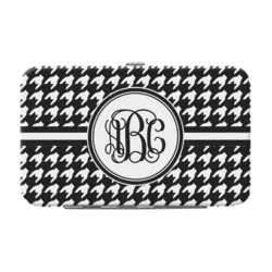 Houndstooth Genuine Leather Small Framed Wallet (Personalized)