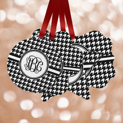 Houndstooth Metal Ornaments - Double Sided w/ Monogram
