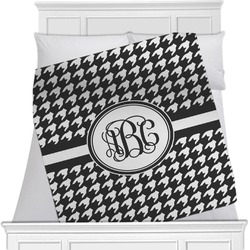 """Houndstooth Fleece Blanket - Queen / King - 90""""x90"""" - Double Sided (Personalized)"""