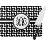 Houndstooth Rectangular Glass Cutting Board (Personalized)