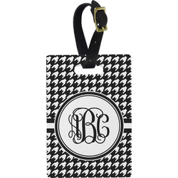 Houndstooth Plastic Luggage Tag - Rectangular w/ Monogram