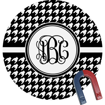 Houndstooth Round Fridge Magnet (Personalized)