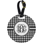 Houndstooth Plastic Luggage Tag - Round (Personalized)
