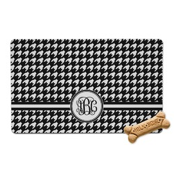 Houndstooth Pet Bowl Mat (Personalized)