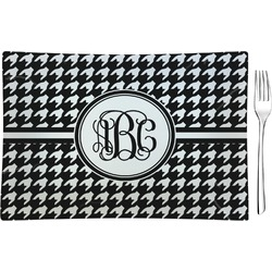 Houndstooth Rectangular Glass Appetizer / Dessert Plate - Single or Set (Personalized)