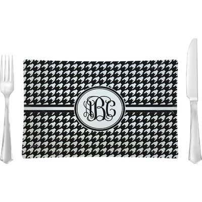 Houndstooth Rectangular Glass Lunch / Dinner Plate - Single or Set (Personalized)